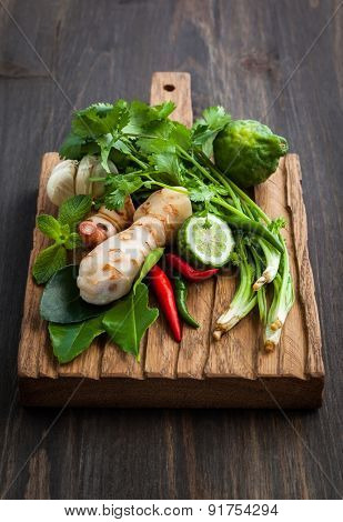 Fresh Asian herb and spicy ingredients food