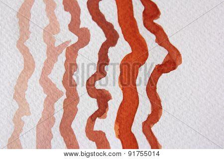 Orange Wavy Watercolor Lines 2