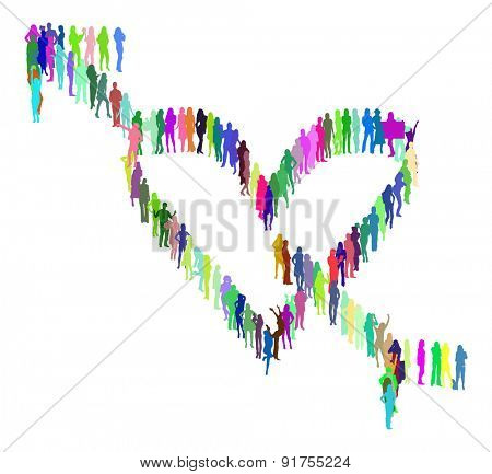 Heart made of Vector Silhouettes Isolated