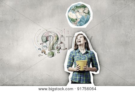 Young pretty woman with yellow bucket in hands. Elements of this image are furnished by NASA