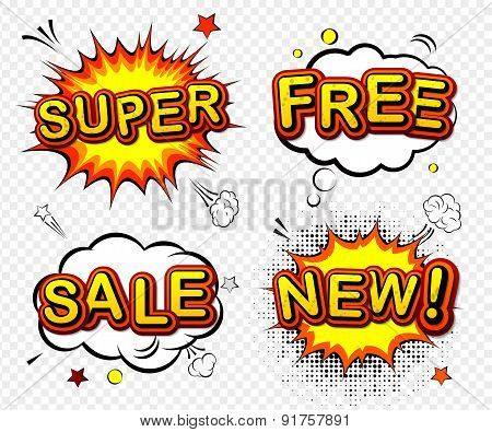 Vector Comic Badges - Super, Free, Sale And New.