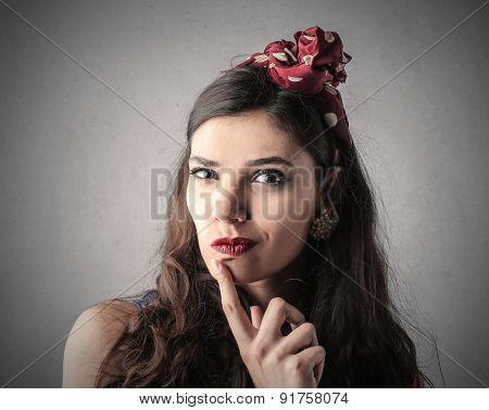 Woman thinking of something