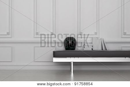 Contemporary Black Vase and Stack of Books on Leather Bench in Modern Room with White Floor and Wall with Wainscotting. 3d Rendering.