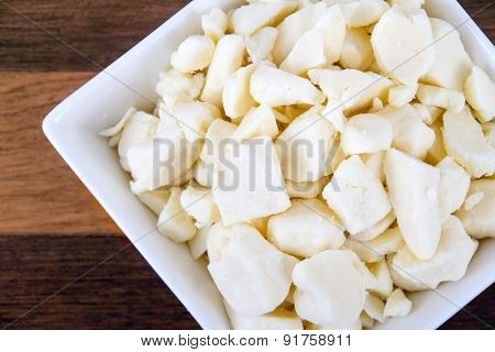 white dairy cheese curd in a bowl on table