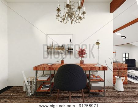 Simple Modern Wooden Desk and Black Chair with Chandelier Inside Contemporary Home. 3d Rendering.