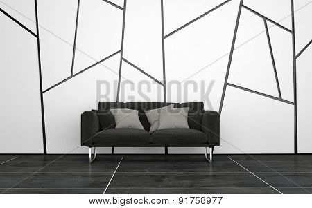 Dark Grey Sofa with Cushions in Sparsely Decorated Room with Dark Tile Floors and Walls with Geometric Pattern. 3d Rendering.