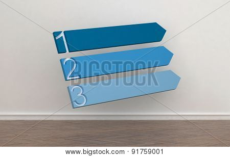 Three blank blue blank upward pointing arrows numbered 1 to 3 against an interior wall of a room to signal a change in direction and choice of routes or opportunities, conceptual image. 3d Rendering.