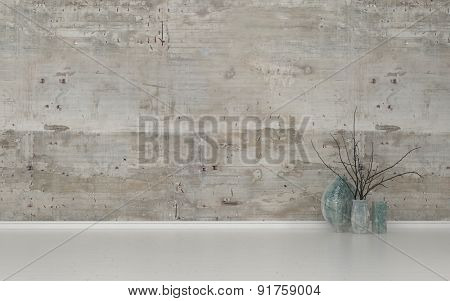 Assortment of Contemporary Vases with Twigs in Sparsely Decorated Room with White Floor and Bare Cement Walls with Copy Space. 3d Rendering.