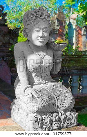 Statue In Pura Taman Ayun - Hindu Temple Near Mengwi, Bali, Indonesia