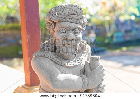 Balinese Statue In Temple Complex, Bali, Indonesia