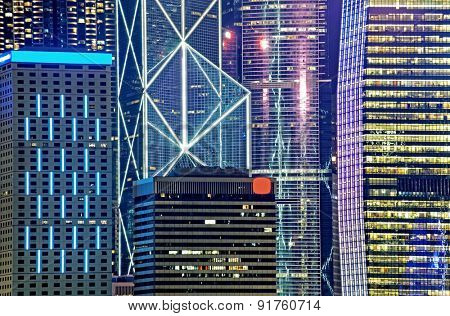 Hong Kong Island from Kowloon city at night