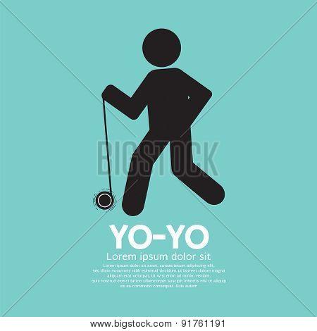 Black Graphic Symbol Yoyo Player.