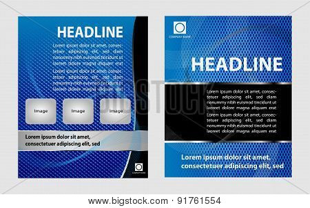 Vector empty brochure template design with bright blue elements