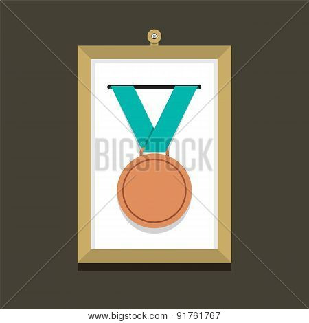 Bronze Medal In A Picture Frame.