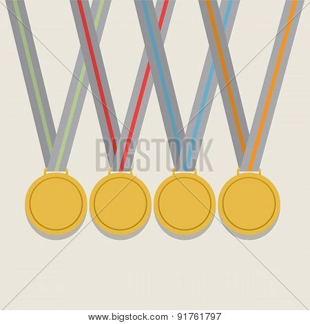 Many Golden Medals With Colorful Ribbon.