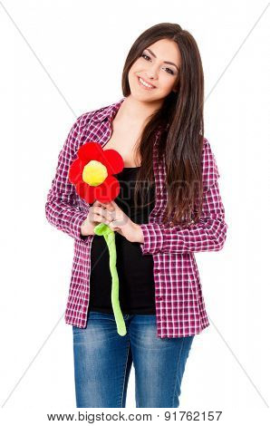 Girl with big flower, isolated on white background