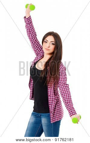 Happy girl with dumbbells, isolated on white background