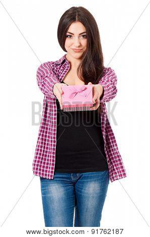 Girl holding gift box isolated on white background