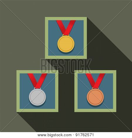 Three Medal In Picture Frame.