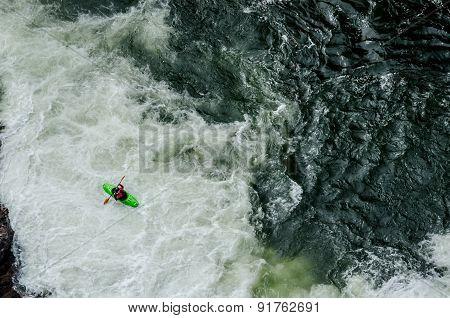 Green Kayak In White Water