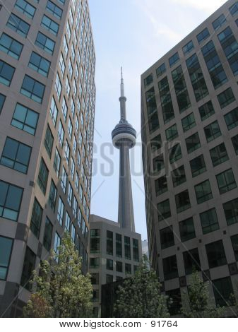 CN Tower Between Buildings