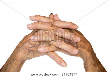 Hands Of The Old Woman On Isolated And White Background.
