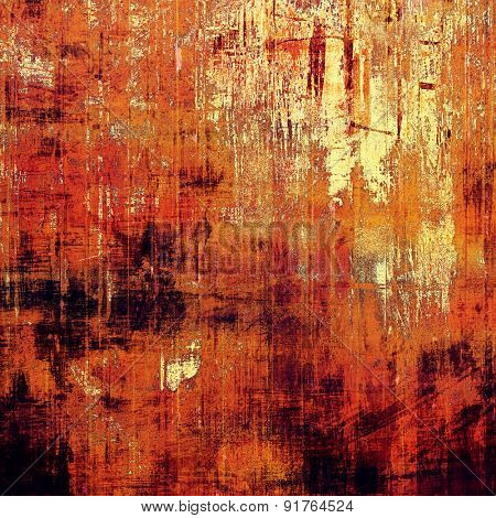 Grunge stained texture, distressed background with space for text or image. With different color patterns: yellow (beige); brown; red (orange); black