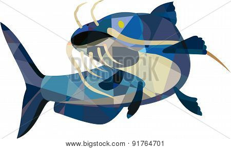 Catfish Mud Cat Looking Up Low Polygon