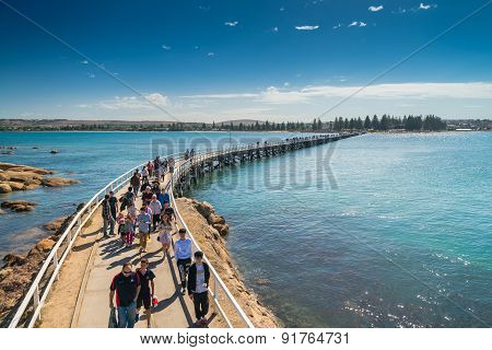 Victor Harbor Foot Bridge With People