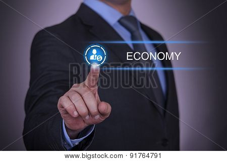 Person pushing hologram of economy icon