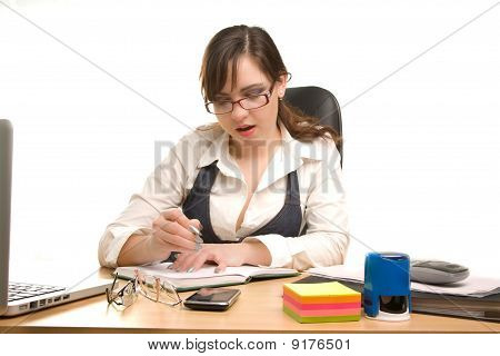 Businesswoman Write A Note