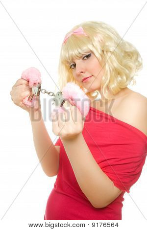 Woman With Handcuffs (focus On Handcuffs)