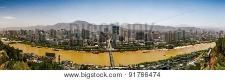 Wide view on south side of Lanzhou city