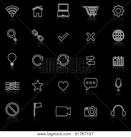 Web Line Icons With Reflect On Black