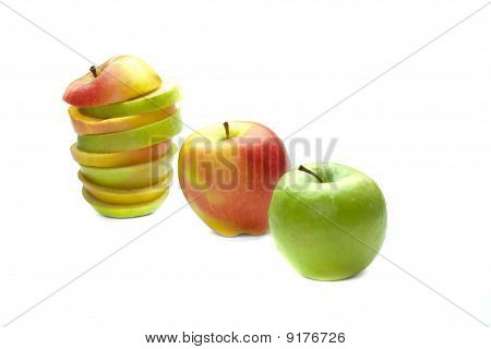 Three Different Apples On The White Background