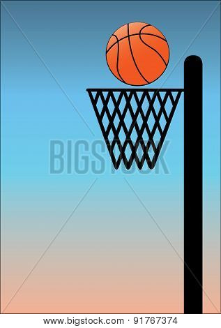 Basket Ball On Blue Background
