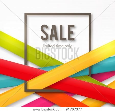 Sale background with frame and colorful ribbons