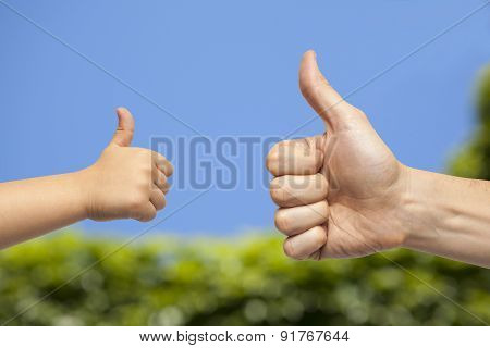 Father And Son Hands Giving Like On natural Background