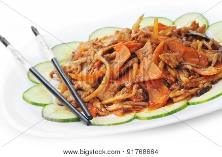 Chinese Food On Plate Close Up