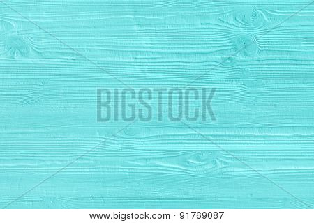 Natural Wooden Turquoise Boards, Wall Or Fence With Knots. Abstract Textured Mint Background