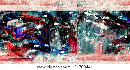 Nice Image of an Original Abstract Painting On Glass and Sand