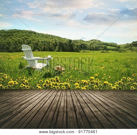 Empty wooden table top in open fields of dandelions and chair