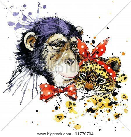 Funny monkey, leopard, watercolor background