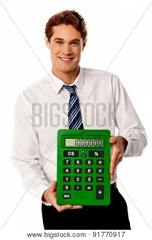 Male Executive With Big Calculator.