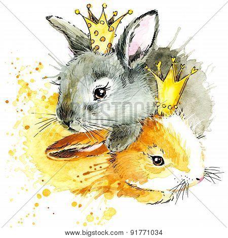 Funny bunny watercolor