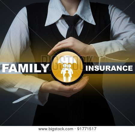 Business Insurance Concept. Man Holding A Symbol Of Life Insurance And Health Insurance Rights.