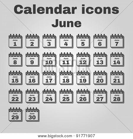 The Calendar Icon. June Symbol. Flat