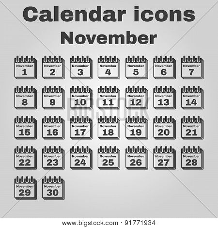 The Calendar Icon. November Symbol. Flat