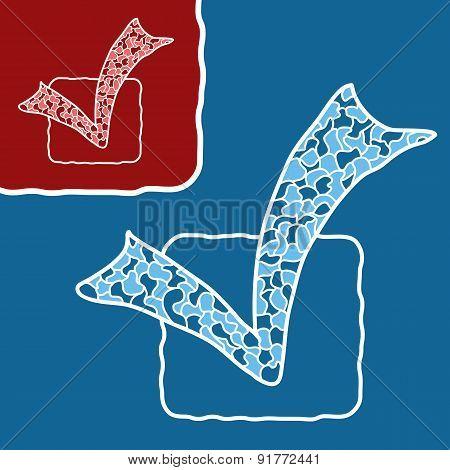 Mosaic doodle checkmark