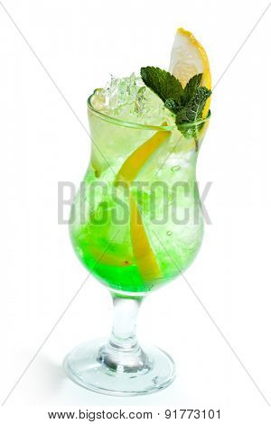 Green Cocktails topped with Lemon and Fresh Mint